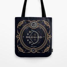 Sagittarius Golden White on Black Tote Bag Image