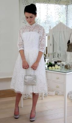 Late Early Short White Vintage Wedding Dress with Lace Top S One Fine Day, Robin, Lace Skirt, White Shorts, Vintage Outfits, Wedding Dresses, 1960s, Skirts, Clothes
