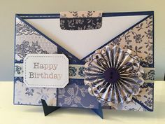 Chintz patterned happy birthday card with button & pinwheel embellishment on an easel base...