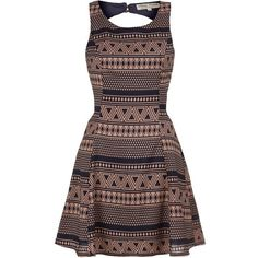 Parisian Pink and Black Cut Out Aztec Skater Dress ($12) ❤ liked on Polyvore featuring dresses, vestido, day dresses, pink, cutout dresses, pink evening dress, metallic cocktail dress, cut out skater dress and pink cocktail dress