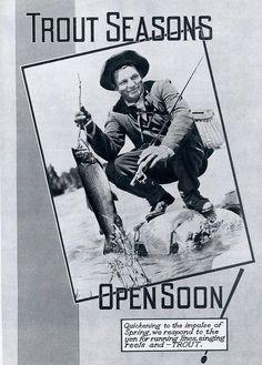 Vintage 1939 Trout Season Print Advertisement Fishing