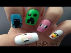 nail designs, sheep enderman creeper pig chicken