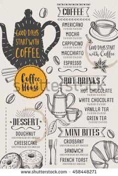 ideas design menu coffee restaurant for 2019 Restaurant Brochure, Carta Restaurant, Restaurant Menu Design, Coffee Shop Menu, Coffee Shop Design, Cafe Design, Coffee Macchiato, Cafeteria Menu, Menue Design