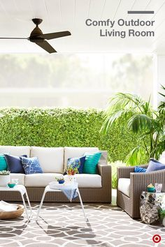 Create an outdoor space that's inviting and comfy, and that celebrates the brightness of summer. Start with neutrals—wicker furniture and a patterned rug help add interest—then add pops of color with a mix of pillows in the same color palette. Double up on seating by styling the areas with two accent tables or portable stools.