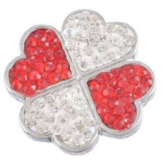 4PC Snap Button Red&White Rhinestone Polymer Clay Four Leaves Clover DIY