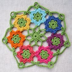 April Garden is a cheery little flower motif that can be made with any yarn you like, and an appropriate size hook. I crocheted 7 flowers and joined them together with a central motif and a bit of edging, using Planet Penny Cotton Club yarn (a light DK weight yarn) and a bit of Patons Grace.