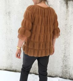 Knit Fashion, Pullover Sweaters, Knit Crochet, Fur Coat, Elegant, Knitting, Handmade, Jackets, Women