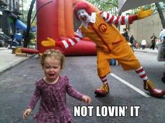 Totally not loving it. This would be me lol, but as a adult of course!!! :) friggin hate clowns man!