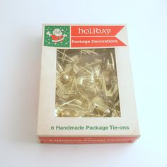 Vintage Picks Gold Glass Ball Tinsel Pom Poms Christmas Package Tie Ons by efinegifts on Etsy