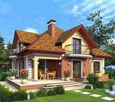 Ideas for home and garden decor, design and DIY projects! Two Story House Design, House Front Design, Style At Home, Modern Cottage, Dream House Exterior, Classic House, Home Living, Simple House, House Rooms