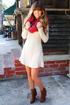 Sweater dress, blanket scarf, ankle boots. Add a colored tight for more warmth. | 27 Chic Winter Date Night Outfits For Girls - Styleoholic