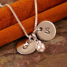 Hand Stamped Neckalce Personalized Sterling Silver - Petite Flat Initial Tag Duet