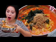 "The BEST Jang Kalguksu recipe with you! ""Jang"" means ""sauce"" in Korean (in this case Gochujang, Korean chili pepper paste) ""Kalguksu"" means ""knife noodles"" Spicy Noodle Soup Recipe, Noodle Recipes, Soup Recipes, Noodle Soups, Chowder Recipes, Korean Food Recipes, Cooking Recipes, Ethnic Recipes, Chili Pepper Paste"