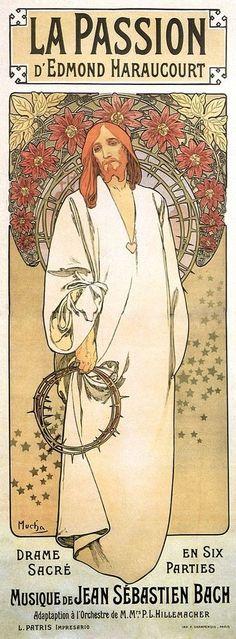 Toile La Passion Art Nouveau Alphonse Mucha 40X15cm A3 Poster Neuf Christ Jesus