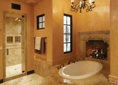 25 Bathroom Designs With Built-In Fireplaces | Shelterness
