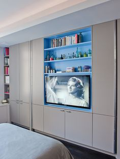 Furnitures, Captivating Contemporary Bedroom With Modern Built In Tv Cabinet With Gray Color Also Comely LED TV Also Gray Bed Cover Color: Interior House Design with Built TV Cabinet