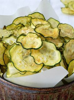 This Salt and Vinegar Zucchini Chips Recipe Makes a Healthy Snack #smallsnacks trendhunter.com
