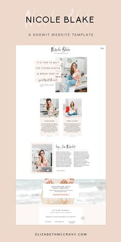 Showit website template designed for coaches, consultants, social media managers, marketing consultants, virtual assistants, nutritionists, personal trainers, and bloggers.   The Nicole template by EM Shop is light, airy and minimally designed to catch the viewer's attention. This stunning design is easy to use, easy to customize, and created to help you book more clients! Shop #Showittemplates by EM Shop now! #showit