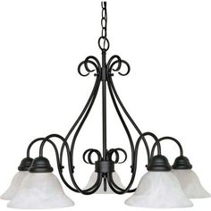 Glomar 5-Light Textured Flat Black Chandelier with Alabaster Swirl Glass Shade-HD-381 at The Home Depot
