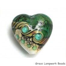 Grace Lampwork Beads // 11831605 - Mint Stardust Heart