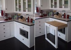 This is awesome! Great use of space for a small kitchen. Instant counter top!
