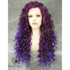 Curly Purple Mix Long Wig. Halloween party wig