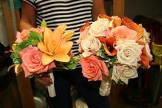 Orange Pink & Ivory tones for a beautiful fall wedding! Bride and Maid of Honor Bouquets - At Jacqueline's Florist