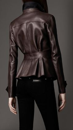 Burberry - PEPLUM WAIST LEATHER JACKET♥
