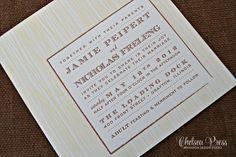 Woodgrain Letterpress PRINTED wedding invitation. by ChelseaPress