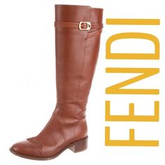 "FENDI Knee-High Brown Boots - Sz 7 - Retail $1450 Fendi russet-brown leather round-toe riding boots with gold-tone hardware, stacked block heels and buckle closures at tops. Excellent used condition. Moderate creasing at uppers and wear at soles (see pics). All pics are of actual boots! Measurements: Calf Circumference 14"". Shaft 15"". Heels 1"".  Size US 7/IT 37. Retail $1450. ✳️Always Authentic✳️Also listed on other sites so will sell quickly✳️  ❌Trades❌PayPal❌ FENDI Shoes Winter & Rain…"