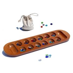 African Stone Game (Mancala) with Glass Stones 23L