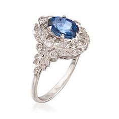 Ross-Simons - C. 2000 Vintage Sapphire and Diamond Ring In 18kt White Gold. Size 7 - #787162