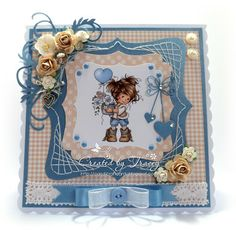 handmade card, Hobby House Topper, Mulberry Roses, Ribbon, Pearls, Buttons