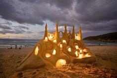 "bluepueblo: "" Illuminated Sand Castle, Santa Cruz, California photo via maka "" My sand castles never look this good! I Love The Beach, Beach Fun, Beach Trip, Beach Camping, Sand Beach, All Nature, Human Nature, Wassily Kandinsky, Favim"