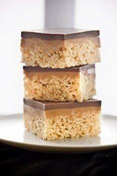 Chocolate, Caramel Peanut-Butter Rice Krispies Treats.