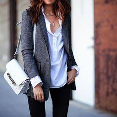 Marbled grey + crisp white  @marissawebbnyc shirt @bananarepublic blazer @ellelouise_designs necklace