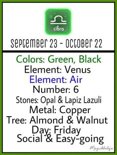 Libra. This is true for me except i don't like black and my stone is actually Sapphire while my tree is Hazel.