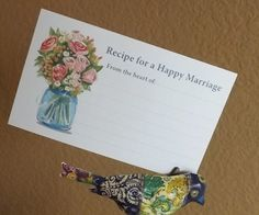 Recipe For A Happy Marriage Marriage Advice Cards by RecipeBox