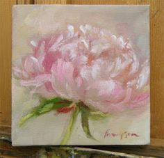 "Peonies, a Strawberry, and a Field Easel Pink Peony, 5 x 5"" oil on canvas by Tracie Thompson."