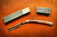 Beautiful,+rare,+antique+men's+shaving+razor.+    Near-Antique+Fried+Wilh+Engels+straight+razor+-+LEADER+model+from+around+1939-1943+Germany+during+WWII.    Blade+is+like+new,+very+good+condition.+Original+Box+is+included+and+also+in+very+good+condition.    Closed,+6.25+inches+long.+Open,+9.5+inc...