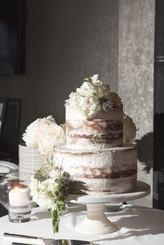 Maggie Sottero for a Black Tie Wedding in Newcastle. White naked wedding cake. Image by Jamie Mcelderry Wedding Photographer. Read more: http://bridesupnorth.com/2016/08/19/modern-glamour-maggie-sottero-for-a-black-tie-wedding-in-newcastle-jaimie-gemma/ #wedding #cake