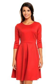 Dzianinowa czerwona sukienka rozkloszowana Cold Shoulder Dress, High Neck Dress, Dresses For Work, Outfits, Fashion, Vestidos, Turtleneck Dress, Moda, Suits