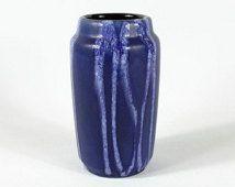 Blue Scheurich vase 231-15 europe line, West German Pottery, 70s, Modernist