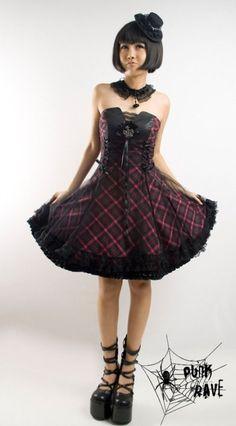 Tartan Princess Dress Punk Rave Gothic Lolita Prom Dress