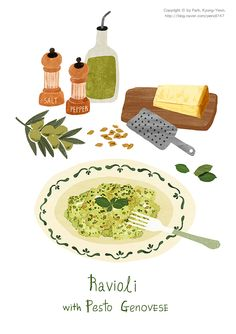 ravioli by 박경연 on Grafolio Cute Illustration, Watercolor Illustration, Kitchen Prints, Food Drawing, Food Illustrations, Cute Food, Food Art, How To Draw Hands, Food And Drink