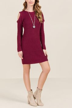 The Aviva Cold Scallop Sweater Dress features a scallop trim detail along the cold shoulder opening. Cos Outfit, Cos Clothes, Burgundy, Cold, Model, Sweaters, Dresses, Fashion, Vestidos