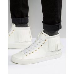 ASOS Fringe High Top Sneakers In White ($51) ❤ liked on Polyvore featuring men's fashion, men's shoes, men's sneakers, white, mens white shoes, mens lace up shoes, mens white sneakers, mens white high top shoes and mens high top sneakers