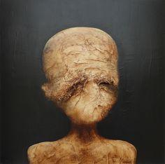La vérité en face © Laurent Fièvre - Canvas (acrylic, silk paper) - 40 x 40 cm - 13/07/2014