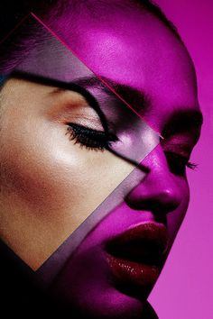 Graphic Shadow Plexi Beauty Shoot with Model Camila Costa with Makeup Artist Yadim, Art Partner