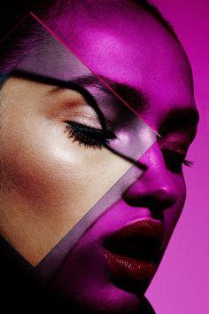 Graphic Shadow Plexi Beauty Shoot with Model Camila Costa with Makeup Artist Yadim, Art Partner